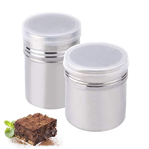 Libara Spargitore a polvere in acciaio inox, versatile colino in acciaio inox, con coperchio e bottiglia per spezie in polvere di caffè – 2 pezzi