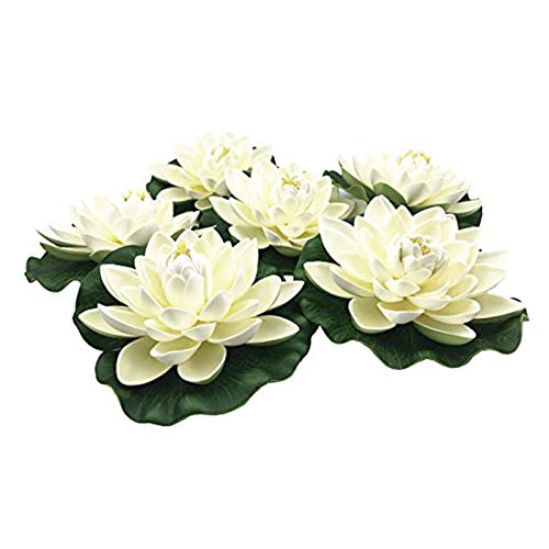 Noblik 6Pcs Artificial Floating Foam Lotus Flowers,With Water Lily Pad Ornaments, White,Perfect for Patio Koi Pond Pool Aquarium Home Garden Wedding Party Special Event Decoration