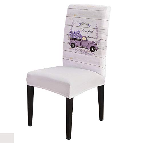 Fresh Lavender Dining Room Chair Cover Slipcover Stretch Removable Washable Chair Covers for Living Room, Kitchen Set of 6 Truck Vintage Country Farmhouse Flowers Planks