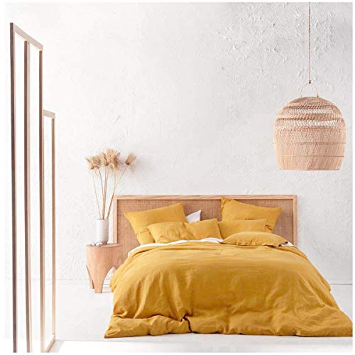 Eikei Washed Cotton Chambray Duvet Cover Solid Color Casual Modern Style Bedding Set Relaxed Soft Feel Natural Wrinkled Look (King, Mango Yellow)