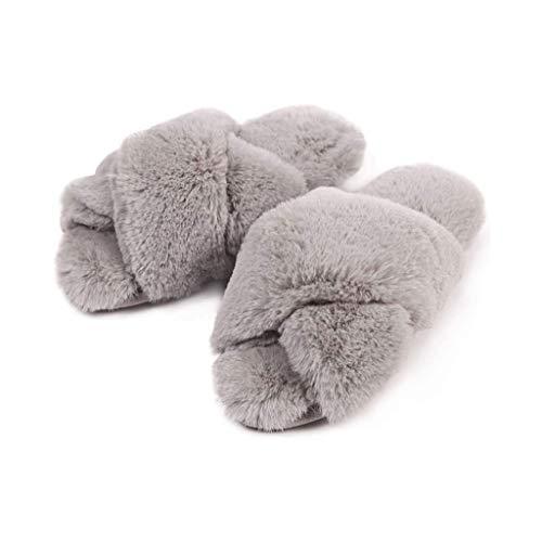 Frauen Open Toe Cross Band Fuzzy Hausschuhe, Furry Fur House Indoor Outdoor Hausschuhe, Soft Plüsch Memory Foam Flache Anti-Rutsch Spa Slide Slipper