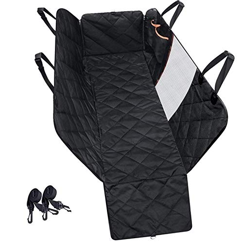 DIYHM Quality Waterproof Pet Dog Car Seat Cover Mesh Visual Window Nonslip Car Dog Hammock Trunk Mat With Storage Pockets Dogs and Armrest Fits Cars, Universal Size Fits fo (Color : Black)