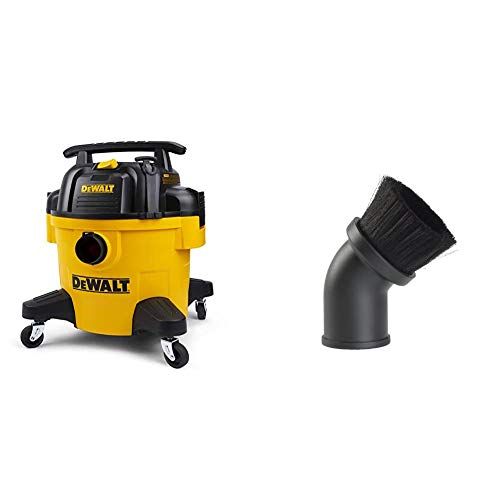 DeWALT DXV06P 6 Gallon Poly Wet/Dry Vac, Yellow & Workshop Wet Dry Vacuum Accessories WS17801A Shop Vacuum Brush Attachment for 1-7/8-Inch Wet Dry Vacuum