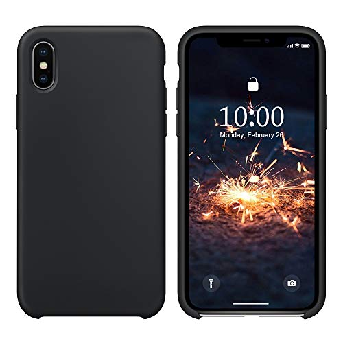 SURPHY Cover Compatibile con iPhone XS, Cover Compatibile con iPhone X, Custodia per iPhone X XS Silicone Slim Cover Antiurto con Fodera in Microfibra Protettiva Case per iPhone X XS 5.8', Nero