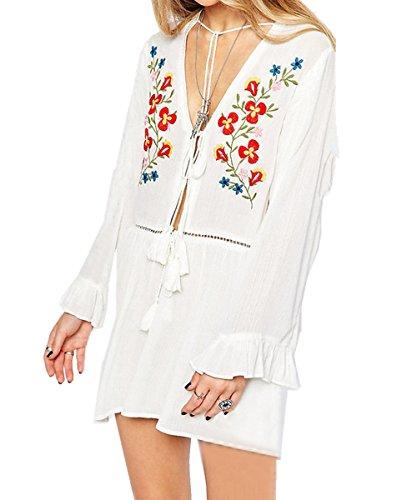 L-Peach Damen Sommer Blumenstickerei Baumwolle Blusen Tunika Kleid Strandkleid Bikini Coverups One Size