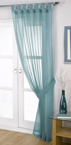 John Aird Woven Voile Tab Top Curtain Panels - Free Tieback Included (Teal, 60' Wide x 90' Drop)