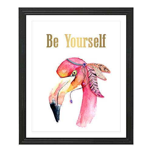 Eleville 8X10 Be Yourself Real Gold Foil and Flamingo Watercolor Art Print (Unframed) Housewarming Gift Nursery Decor Kids Wall Art Motivational Poster Baby Shower WG128