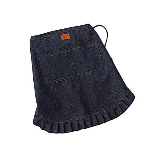 F-OXMY - Delantal corto de media cintura con bolsillos, vaquero para cocina, bistro, bar y hogar