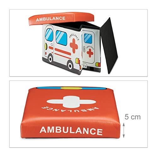 """Relaxdays faltbare Spielzeugtruhe mit Sitzpolster """"Krankenwagen"""", 48x32x32cm - 5"""