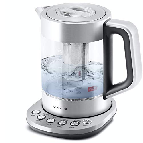 Electric Glass Kettle and Tea Maker with Removable Infuser and Temperature Controls. Brewing Programs for your favorite types of teas and Coffees. Stainless Steel Glass Boiler. BPA-FREE 1.6 liters