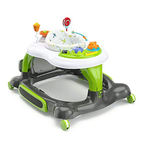 Storkcraft 3-in-1 Activity Walker and Rocker with Jumping Board and Feeding Tray, Interactive Walker with Toy Tray and Jumping Board for Toddlers and Infants- Green