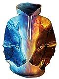 Unisex Realistic Match Wolf Printed Hip Hop Street Style Hip Hop Sweatshirt Pullover Hoodie for Men Women