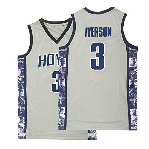 Mens Iverson Jersey College 3 Adult Athletics University Allen Basketball Sports Gray (XX-Large)