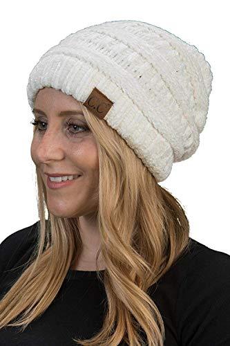 Beanie-Mütze, gerippt, Chenille, elfenbeinfarben
