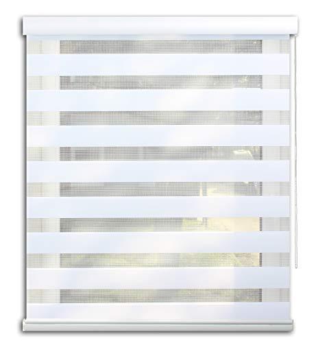 Der Jalousienladen EFIXS Doppelrollo mit weißer Aluminiumkassette - Farbe: Weiss - Größe: 190 x 175 cm - mit Premium-Unterschiene - weitere Farben, Breiten und Höhen wählbar