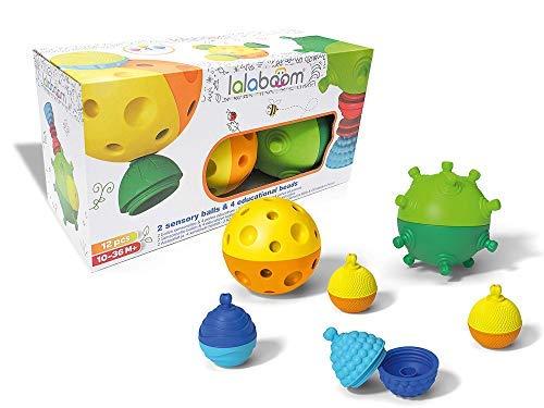 Lalaboom 86151 Lernspielzeug für Kinder, Motorikspielzeug, Sensorik-Bälle & Entdecker-Perlen-Set, 12-teilig, Mehrfarbig