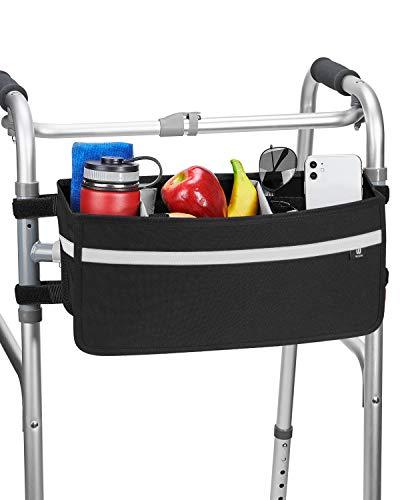ISSYAUTO Walker Basket, Strap Mount Walker Cup Drink Holder with Two Split Board, Foldable Walker Storage Bag, Best Gift for Family and Friends - Black