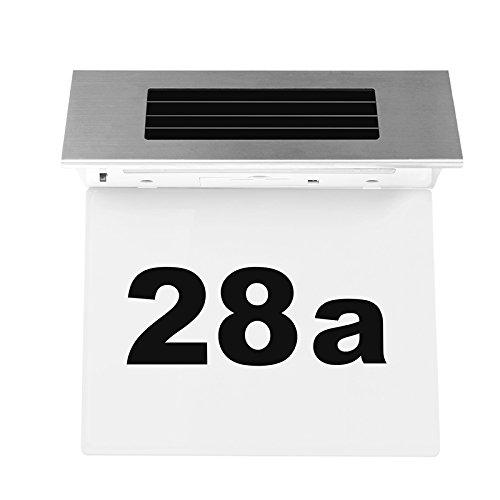 Solar Powered Door plate Number Light Stainless Steel Solar Powered LED Doorplate Number Light House Door Numbers Outdoor Wall Plaque Light