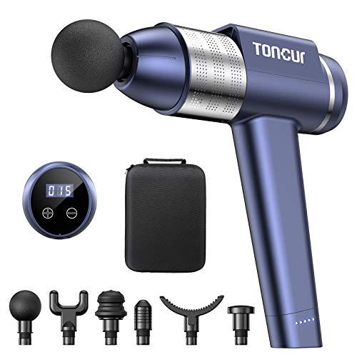 Massagepistole Toncur,38db für Geräuschreduzierung,105 ° Design Massage Gun mit 30 Geschwindigkeit und 6 Massageköpf,Deep Tissue Muskelmassagegerät um Schmerzlinderung im Gym, Büro, Zuhause (blau)