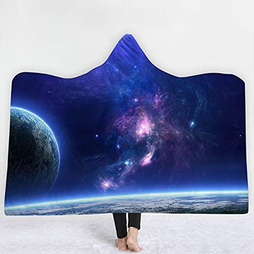KLily Manta Digital 3D Manta De La Siesta del Dormitorio del Cielo Estrellado De La Pareja Romántica, Manta con Capucha, Manta del Manto