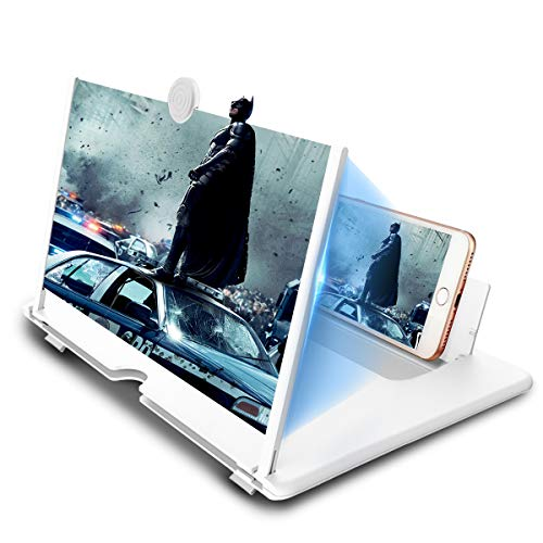 "CameCosy 12"" Phone Screen Magnifier, HD Mobile Phone Amplifier with Folding Stand Holder Portable Anti-Radiation Movie Video Enlarger Phone Magnifier Screen with Pull Design for All Smartphone-White"