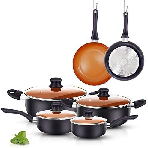 FRUITEAM 10pcs Cookware Set Ceramic Nonstick Soup Pot Milk Pot and Frying Pans Set Copper Aluminum product image