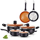 FRUITEAM 10pcs Cookware Set Ceramic Nonstick Soup Pot, Milk Pot and Frying Pans Set, Copper Aluminum...