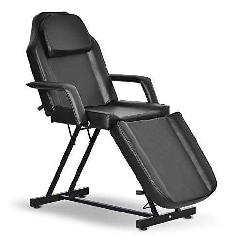Paddie Massage Bed, Facial Chair 3-section Adjustable Professional for Salon Beauty Spa Lash Tattoo Therapy Personal Care, Black