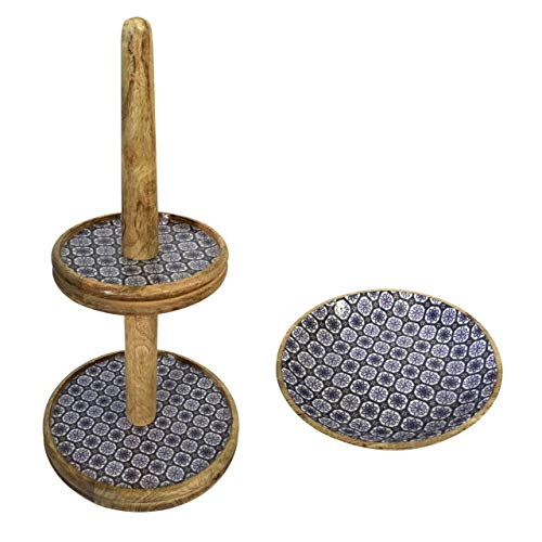 Soma etagère set met 1 grote fruitschaal ø 30 en 28 cm mangohout met keramische decoratie geschikt voor levensmiddelen 30 x 60 x 30 cm blauw/wit