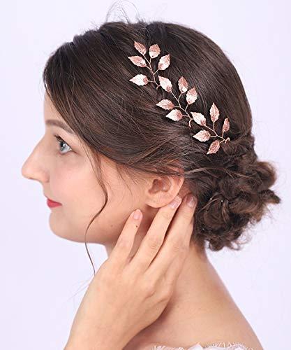 Anglacesmade Brautschmuck Haarnadeln Rotgold Blatt Bobby Pins Blätter Ranken Zweig Pins Hochzeit Haarschmuck Brautjungfer Haar Weinrebe für Frauen und Mädchen