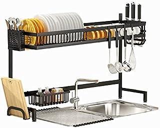 Séchoir à Vaisselle au-Dessus de l'évier, séchoir à Vaisselle en Acier au Carbone à 2 Niveaux avec égouttoir à Vaisselle E...