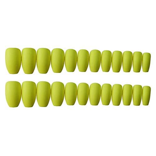 DKHF Valse nagels 24 stuks nagels nieuwe volledige dekking mat gele kleur nep nagels vermeld matte valse nagels