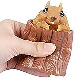 Wination Squeezing Ardilla Copa Árbol tocón en forma de juguete de descompresión de plástico Animal Figura Fidget Sensorial Juguete Regalo