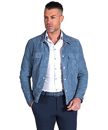 D'Arienzo Chaqueta de ante vaquero para hombre, italiana, de piel de cordero, para moto, fabricada en Italia ADAM azul XS