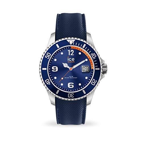 ICE-WATCH Ice Steel Navy Orange - Reloj Azul para Hombre con Correa de Silicona, 017325 (Extra Large)