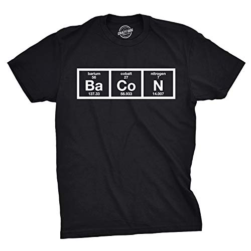 Mens The Chemistry of Bacon T Shirt Funny Nerdy Graphic Periodic Table Science (Black) - L