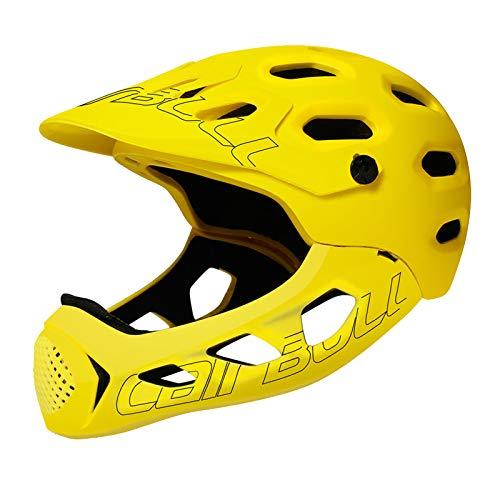 SUCHUANGUANG Casco Integrale motociclette Fuoristrada per Adulti MTB Cross-Country per Bicicletta Extreme Sports Saf Casco Giallo