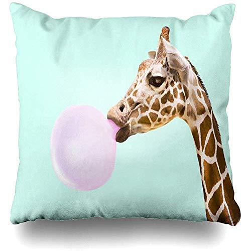 jonycm Couch Cushions Cute Giraffe Pink Bubble Cushion Cases Funda De Almohada Square Bedroom Club Sofa Sofá 45X45Cm Acogedora Sala De Estar Impresa