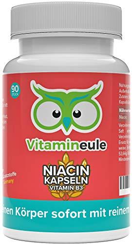 Niacin Kapseln hochdosiert & vegan - flush free - 500mg reines Vitamin B3 (Nicotinamid) ohne künstliche Zusätze - Qualität aus Deutschland - Vitamineule®