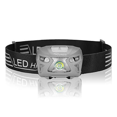 Ryaco Linterna Frontal LED USB Recargable 1200mAh, Linterna Cabeza 4 Modos Sensor...