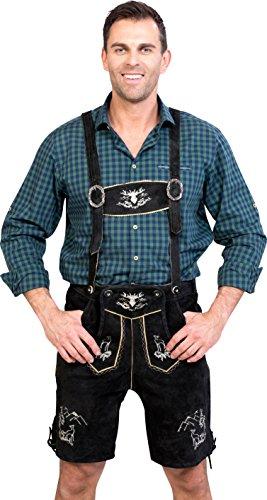 Almwerk Herren Trachten Lederhose kurz Platzhirsch, Farbe:Schwarz;Lederhose Größe Herren:46