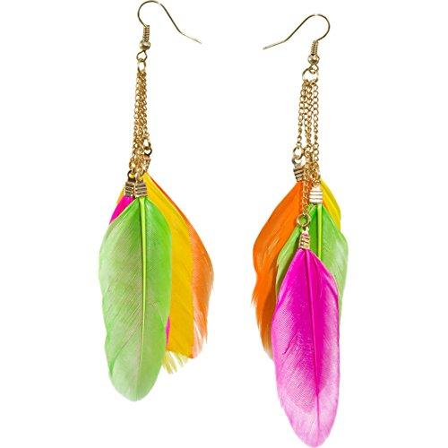 Amakando Pendientes indios para fiesta de neón, colores neón, plumas, pendientes, carnaval, accesorios para mujer, fiesta temática, joyas de plumas de Pocahontas