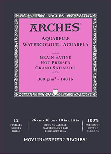 ARCHES A1795098 Block Enc 26 x 36 12H Aquarelle 100% Satin 300 g weiß Nat