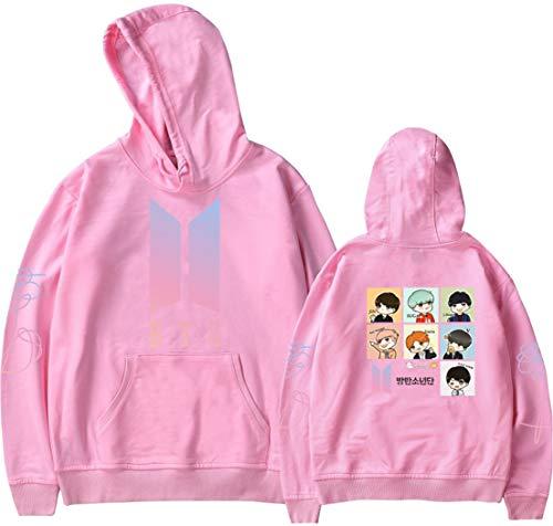 OLIPHEE OLIPHEE Mädchen Kapuzenpullover Cartoon BTS Warme Jumper für Jungen KPOP Sweatshirt Pink L