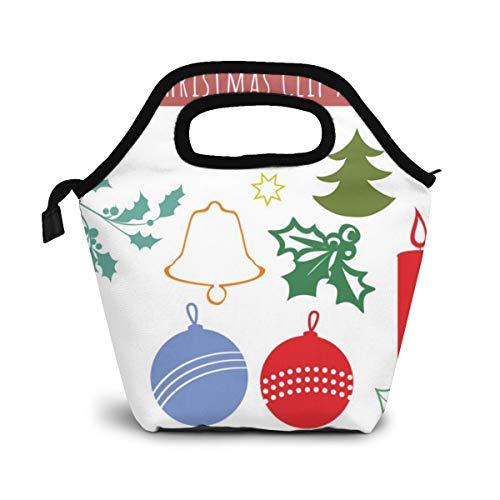 NiWCGP Weihnachten Clipart Bundle Weihnachtssymbole und -Ikonen Lunch Tasche Wasserdicht Leichte Picknicktasche Mittagessen Isoliertasche Thermotasche Auslaufsichere zur Arbeit und Schule gehen