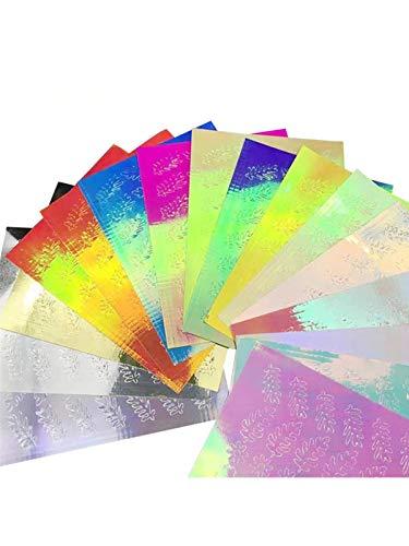 Bulary 16 PCS Nail Art Autocollant Feu Sticker Décalque Autocollant Réflexion De Flamme Autocollants Ongles Multicolore Aurore Flamme Applique DIY Manucure Autocollants
