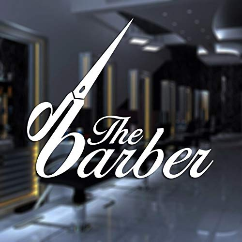 ASFGA Einfache Schere cool Friseur Aufkleber benutzerdefinierte Aufkleber Poster Vinyl Wandkunst Dekoration Fensterdekoration Haarschnitt Rasiermesser Glas Aufkleber 108x125cm