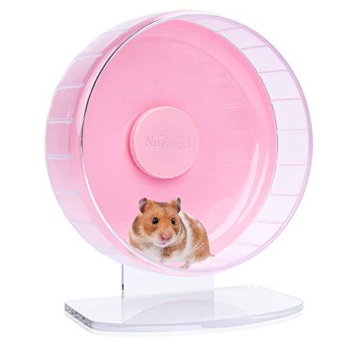 Niteangel Super-Silent Hamster Exercise Wheels: - Quiet Spinner Hamster Running Wheels with Adjustable Stand for Hamsters Gerbils Mice Or Other Small Animals (M, Pink)