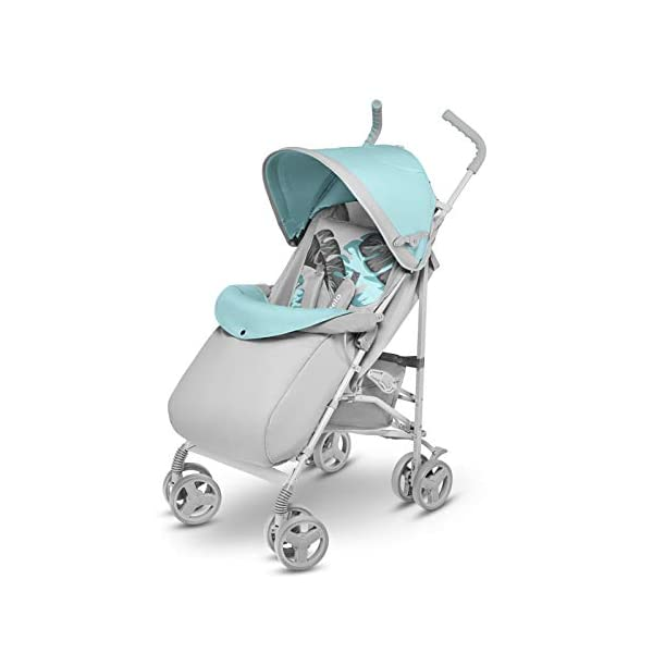 Lionelo Elia Buggy Small Folding Pushchair Buggy up to 15 kg Back and Footrest Adjustment Rear Wheel Brake Mosquito Net Leg Warmer Rain Cover Shopping Basket Lionelo Safe and handy. The Elia pushchair has a simple folding system. Does not need much space after folding. Folding the buggy takes only a few seconds, with a carry handle and the weight of only 7 kg, ideal for travel, on the train or in the car boot. Features: Complete set with mosquito net, leg warmer and rain cover, spacious storage basket, back and footrest adjustment, handle height at 105 cm. Swivel lock and rear brake. On the rear axle there is a comfortable and quick to use brake that is operated with one foot. The front wheel has a swivel lock that helpfully holds a steady course on uneven terrain. 5