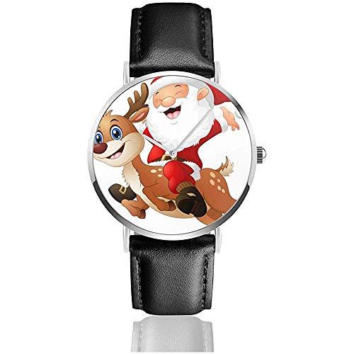 Armbanduhren, Happy Santa Claus Reiten Rentier Uhr Lederuhr Mode Sportuhr Casual Armbanduhr Schwarz
